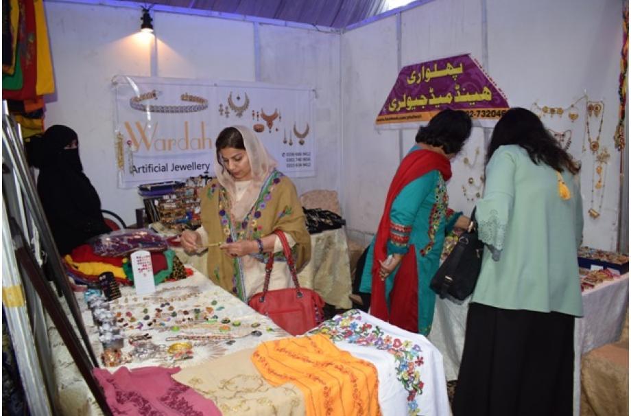Miss Shaista Batool at her stall