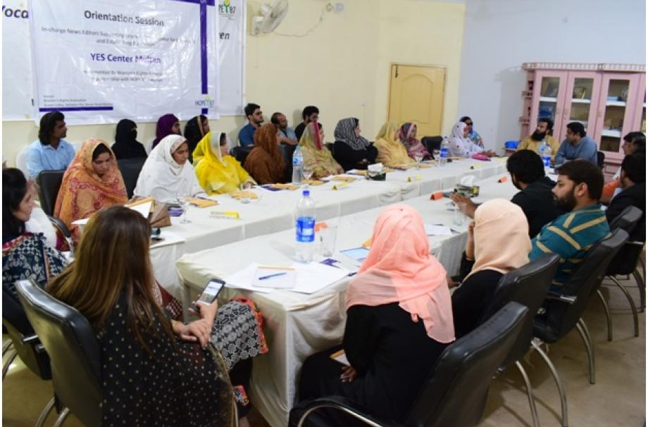 Women entrepreneurs sharing their trade experience in front of media